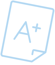 Light blue icon of a piece of paper with an A+ written on it.
