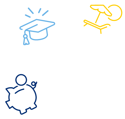 A series of decorative, colorful icons, featuring a graduation cap, a beach chair, and a piggy bank.
