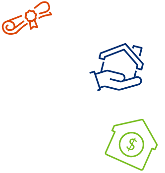 A series of decorative, colorful icons, featuring a diploma, a hand holding a house, and a house with a dollar sign on it.