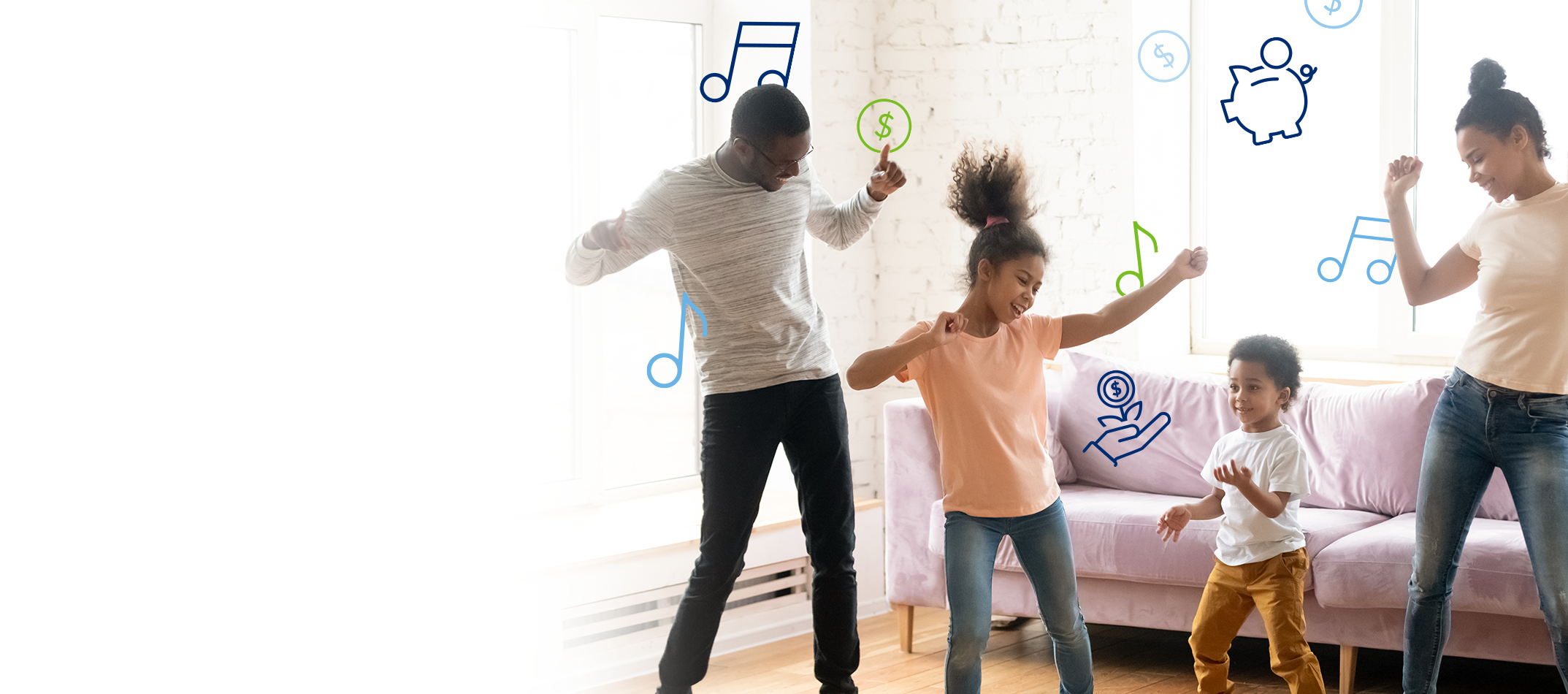 Happy family dancing in the living room, celebrating a great banking experience.